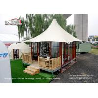 China High Peak 5m Width 2 People Luxury Glamping Tents With Wooden Flooring System wholesale