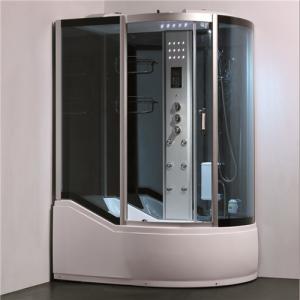 China Single Glass Shower Cabin Shower Steam Room Enclosures With Slide Bar Tub on sale
