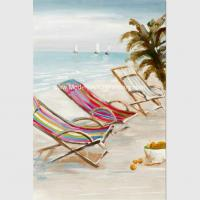 China Bright Seascape Oil Paintings On Canvas Seaside Beach 60 Cm X 90 Cm wholesale