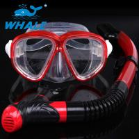 China Portable Red Freediving Diving Snorkel Set With Anti Fog Treatment Reduces Fogging wholesale