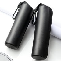 China Black PU Leather Champagne Bottle Sleeves With Strap wholesale