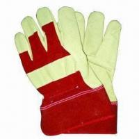 China Full Palm Pig Grain Leather Safety Gloves w/ Red Back, Rubberized Cuff, Comes in 8, 9, 10, 11 Inches on sale