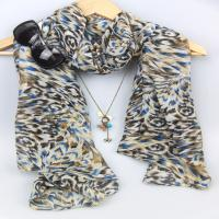 China polyester scarf with beautiful flower voile scarf long Soft Warm Wraps and Shawls on sale