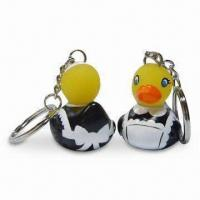 China PVC Housemaid Duck Keychains with Novelty Design, Measures 3.5 x 3 x 3.5cm wholesale