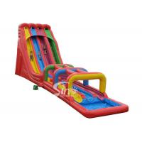 Buy cheap 8m high rainbow triple lane giant inflatable water slide for adults outdoor use from wholesalers