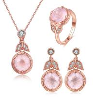 China Pink Oval Stone 925 Silver Gemstone Jewelry Chain Necklace Ring Earrings Dangle wholesale