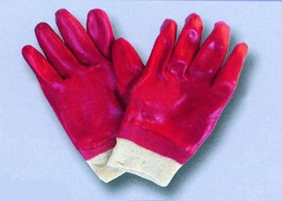 Quality oil resistance red PVC coated gloves for sale