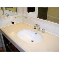 China White Toughened Curved 25mm Tempered Glass Table Top For Washbasin wholesale