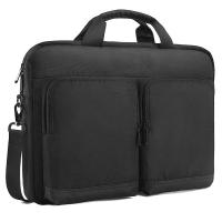 China Casual Classic Black Polyester Shoulder Laptop Bags With Luggage Strap on sale