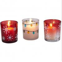 China Red Christmas glass votive candle holder with white snow for Christmas decor ornament wholesale