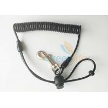 China Anti lost Fishing Rod Wrist Lanyard Black TPU Spiral Coil With J Swivel Snap Hook wholesale