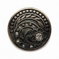 China Jeans Button, Made of Zinc Alloy, Different Sizes are Available wholesale