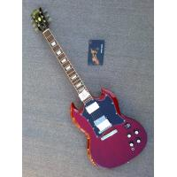 Customised electric guitar SG transparente dark wine red with black pickguard ,Chrome hardware parts