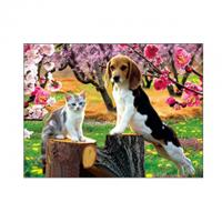 China Lovely Cats And Dogs 3D Lenticular Pictures Printing Customized Size wholesale