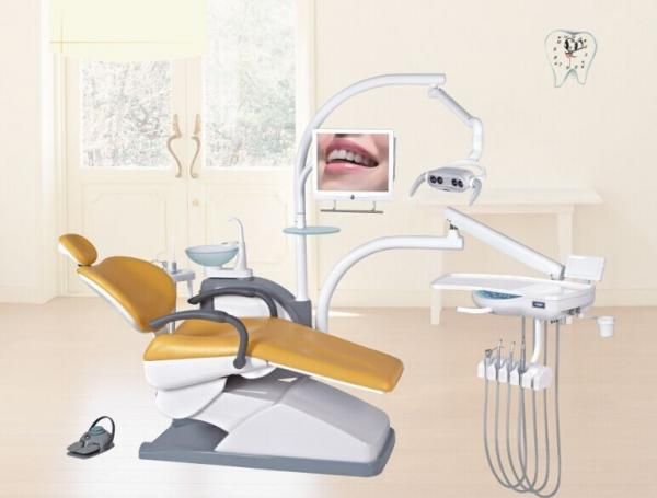 Quality Dental Equipment Orange Dental Chair PU or Real Leather For Dental Treatment for sale
