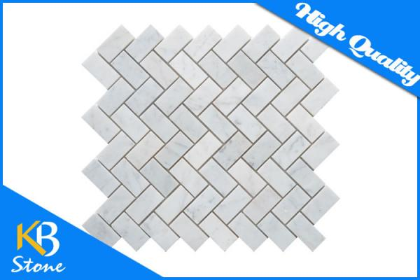 Quality Honed Bianco Carrara White Herringbone Marble Mosaic Kitchen Tiles / Floor or Wall Tile for sale