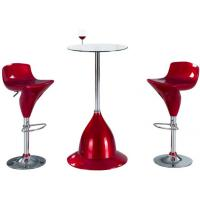 China Tempered Small Modern Glass Bar Table Round With Chrome Legs And Stools wholesale