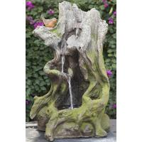 Old Wooden Stake Decorative Outdoor Tiered Water Fountains In Cement Material