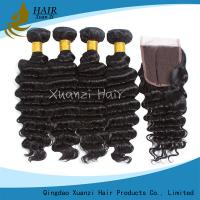 Buy cheap Queen Brazilian Human Hair Deep Wave Bundles With Closure Remy Hair Extension Natural Black For Woman Hair Weave from wholesalers