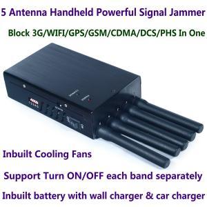 5 Antenna Handheld Cell Phone 3G WIFI GPS GSM CDMA DCS PHS Signal Jammer 20M Shield Radius