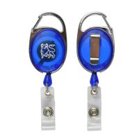 China Carabiner Badge Holder Reel Clip Retractable Oval Shape With Custom Logo Printing wholesale