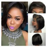 China Short Bob Wigs Natural Color Straight Human Hair Lace Front Wigs on sale
