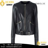China New Style Lady's True Leather Jacket with Zipper Fashion wholesale