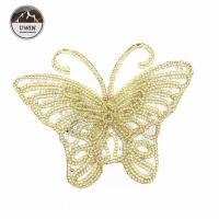 China Beautiful Golden Butterfly Iron On Patch , Sequin Washable Animal Iron On Patches wholesale