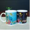 China Blue Patch Ocean Custom Magic Mug With AB Grade White Ceramic wholesale