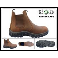 China Men's full grain leathe boots with steel toe safety boots work boots for men brown wholesale