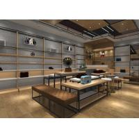 Wood And Metal Retail Store Shoe Display Fixtures With Tables , Stands , Cabinets