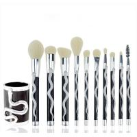 China 10 Pcs Face Cosmetic Brush Set Luxury Snake Shape Gold and Silver Handle Color wholesale