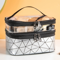China Double Layer Makeup Bag Case With Adjustable Dividers wholesale