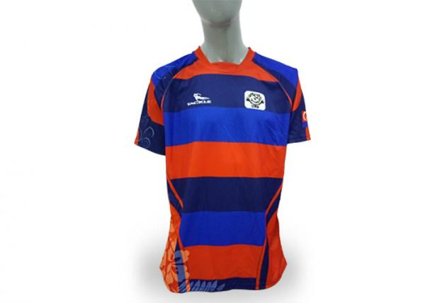 Quality 100% Polyester Striped Rugby Union Jerseys Printing Your Own Name / Nunmber for sale