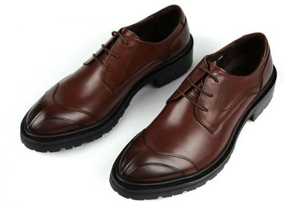 Quality Any Logo Mens Leather Dress Shoes With Stitches Britain Styles Brown Leather Dress Shoes for sale