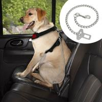 """China Dog Car Seat Belt Clip Leash Quick Fit Stainless Steel Chain Dog Leash 21"""" Long wholesale"""