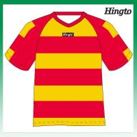 China Red and Yellow Striped Soccer Jerseys Youth Football Team Uniforms on sale