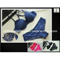 China Fashion Sexy Bra Set Underwear Victoria Glossy Solid Color Lace Pants 0.033kg wholesale