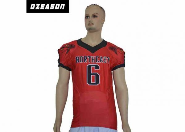 Quality 2018 Customized Made American Football Uniform , Northeast Rattlers Team Red Football Shirt for sale