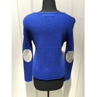 Royal Blue Cashmere Sweater For Ladies , Cashmere Pullover Sweater 2/28nm Yarn