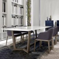 China Shiny Surface Marble Top Dining Room Table With Solid Wood Base wholesale