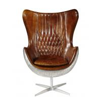 China Vintage Top Grian Real Leather Office Desk Chair Aluminium Back Metal Base wholesale