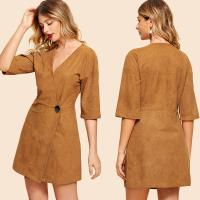 China Fashion Clothing For Women 2018 Suede Button Front Wrap Dress wholesale