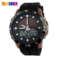 Dual Time Solar Energy Mens Digital Watches , 50M Waterproof  EL Backlight  Wristwatches