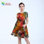 Embroidery Floral Womens Midi Dress , Cotton Midi Summer Dress Latest Patterns