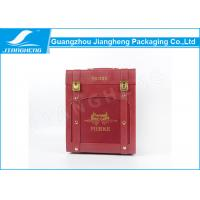China Red Leather Wooden 6 Bottle Wine Gift Box Elegant Customized Fancy Printing wholesale