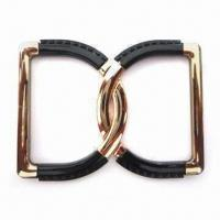 China Shiny Buckles Double D-shaped, Oeko-tex 100/CPSIA Certified, Available in Shiny Gold wholesale