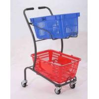China 50KGS Shopping Basket Trolley Japanese Style Zinc Plating Metal Double Basket  Hand Push wholesale