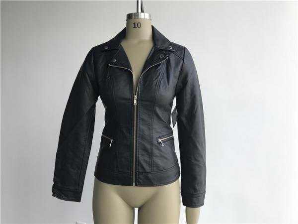 Quality Black Ladies PU Jacket With Lapel Neck , Womens Faux Leather Coat TW74289 for sale