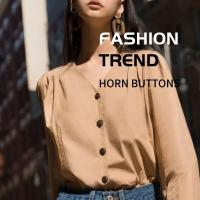 China Professional Horn Buttons Custom Vintage Natural 4 Holes High - Grade Shirt & Trench Coat on sale